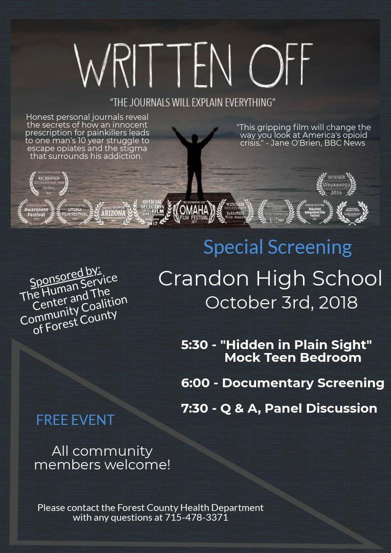 "Crandon High School to offer screening of ""Written Off"""